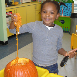 Girl proudly displaying the innards of a pumpkin she is helping to carve